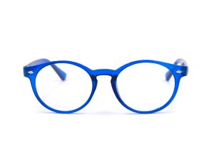 Blue glasses on white background